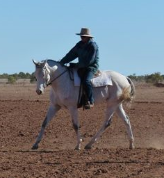 Sandra and Milly, campdrafting mare, in Outback Australia